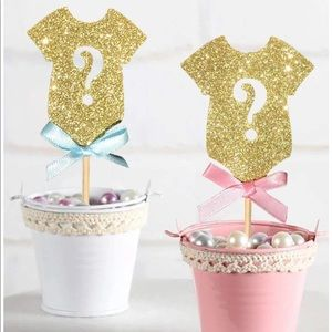 24 gender reveal cupcake toppers
